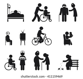 Set of elderly people, senior, human care icons isolated on white. Vector illustration