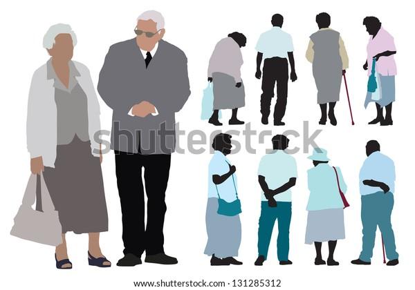 Набор силуэтов пожилых людей на белом фоне.
