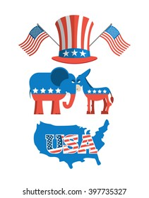 Set elections in America. Uncle Sam hat. American flag. Set political debate in United States. USA map. Donkey and elephant symbols of political parties. Democrats against Republicans