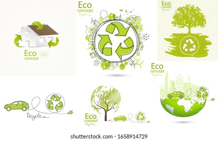 Set. Electric car on the globe. Recycling symbol. Environmentally friendly world. House.The city on the globe. Go green. Doodle drawing. Handmade. Sustainable development. Scribble.Vector illustration