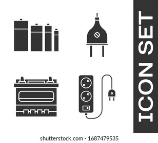 Set Electric extension cord, Battery, Car battery and Electric plug icon. Vector