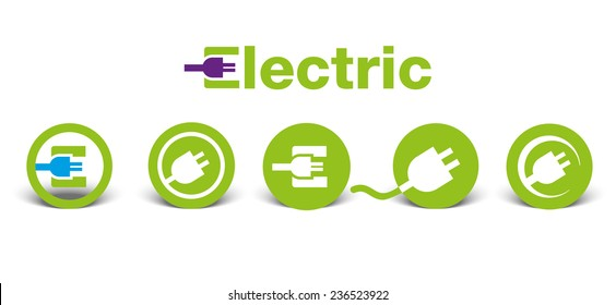 Set of electric green icons with shadow, isolated on white, illustration