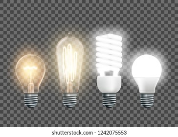 Set of electric lamps, tungsten, Edison, fluorescent and led. Isolated on a transparent background. Vector illustration.