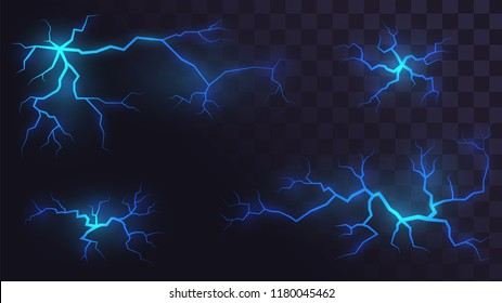 Set of electric lightning on a transparent background, blue flaming crevices