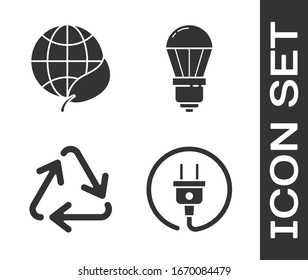 Set Electric plug, Earth globe and leaf, Recycle symbol and LED light bulb icon. Vector