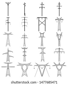 Set of electric tower line icon. High voltage electric pylon. Power line outline vector design illustration isolated on white background