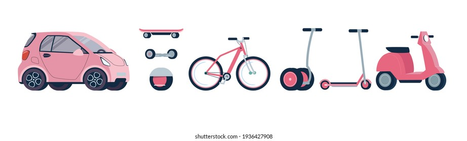 Set of electric transport, for girls and women. Modern electric scooter, gyroscope, skateboard, bicycle, moped, car. Vector illustration of environmentally friendly alternative vehicles. Flat, pink