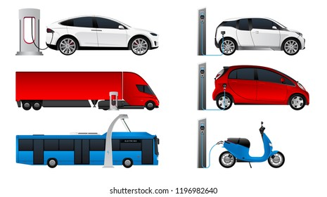 Set of electric vehicles. Isolated on white background. Vector illustration EPS 10