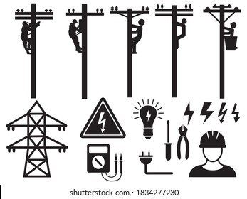 Set of electric workers. Collection of silhouettes electrical worker on power lines. Repairman fixing street wires. Danger job.Vector illustration of sign power lineman on white background.