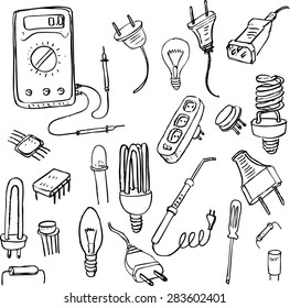set of electrical doodle objects, hand drawn vector design elements