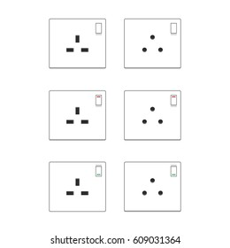 A set of electrical plug points in vector format