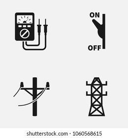 Set of electricity flat vector icon.