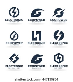 Set of electricity signs and electric energy icons (3)
