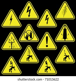 Set of electricity signs symbols vector isolated on black