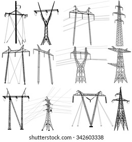 Set electricity transmission power lines. Vector illustration.