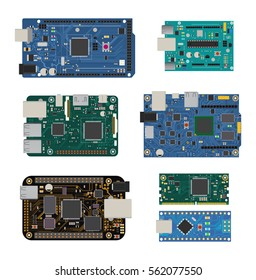 Set of electronic circuit boards with a microcontroller, LEDs, connectors, and other electronic components, to form the basic of smart home, robotic, and many other projects related to electronics.