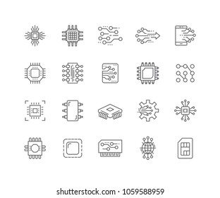 Set of Electronic circuit outline icons isolated on white background.
