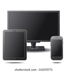Set of Electronic Devices with Black Blank Screens - Desktop Computer, Tablet and Mobile Phone. Vector illustration
