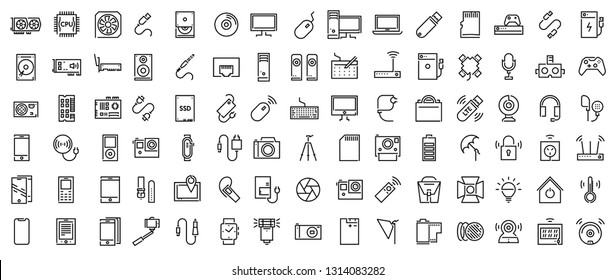 Set of Electronic Devices flat thin line Icons vector; Electronic Appliances; Mobile Accessories; PC Upgrading Components; Smart Home devices