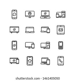 Set of electronic devices line icon design, black outline vector icons, isolated against the white background, technology gadget vector illustration.