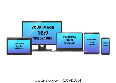 A set of electronic devices: PC monitor, tablets, laptop and smartphone with various screen size and aspect ratio, on white background. Realistic vector mockup.