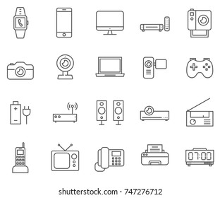 Set of electronic devices Related Vector Line Icons.Includes such Icons as Laptop, router, telephone, SmarTone, TV, camera and more.