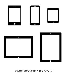 set of electronic devices with white blank screens. smartphones, tablets. vector eps8