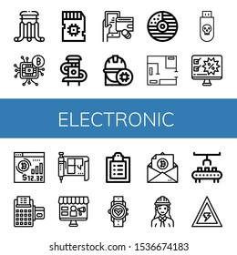 Set of electronic icons. Such as Slider, Microchip, Sd card, Digital wallet, Engineer, Cd, Blueprint, Usb, Computer, Bitcoin, Credit card, Medical record, Smartwatch , electronic icons