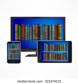 Set of electronic library digital devices on white, vector illustration