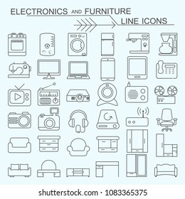 Set electronics and furniture vector line icons editable stroke