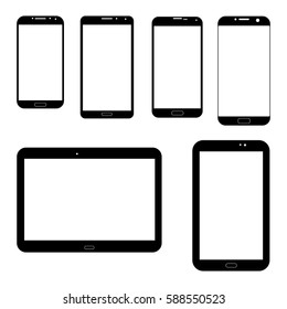 Set of electronics icons: black tablets Samsung tab and smartphones Samsung Galaxy on white background. Outline devices mockups. Vector illustration
