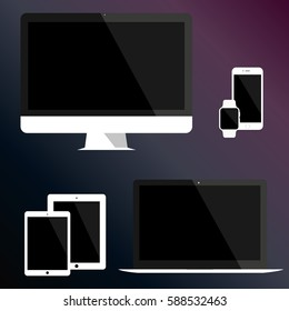 Set of electronics icons: computer monitor iMac, laptop Macbook air, tablet iPad, smartphone iPhone, wristwatch Apple Watch. Apple devices mockup on dark-blue-violet background. Vector illustration.