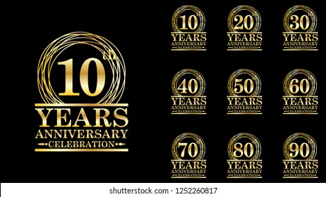 set of elegance golden anniversary celebration emblem, 10th-90th anniversary logo template design for web, game ,creative poster, booklet, leaflet, flyer, magazine, greeting card and invitation card
