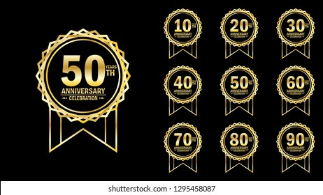 set of elegance golden anniversary celebration emblem 10th-90th, anniversary logo template design for web, game ,creative poster, booklet, leaflet, flyer, magazine, greeting card and invitation card