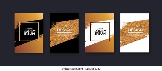 Set of elegant background design.Colorful gradients, golden, card, background, cover, Eps10 vector.Black and golden texture.