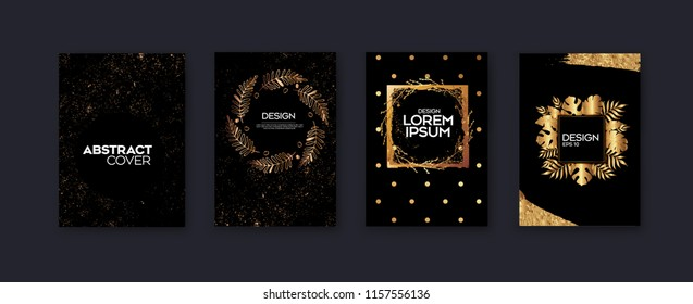 Set of elegant background design.Colorful gradients, golden, card, background, cover, Eps10 vector.Black and golden texture.