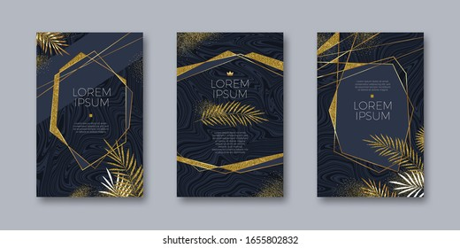 Set of elegant banner. Glitter gold frame and palm branches on a marble texture. Abstract geometric shape frames. Tropical exotic leaves. Vector illustration. Design for cover, invitation, greeting.