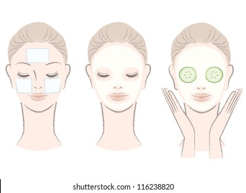 Set of elegant, beautiful woman with facial mask - Clay mask, Cotton pad mask,Cucumber slice mask. Isolated on white. Hand-drawn like style.