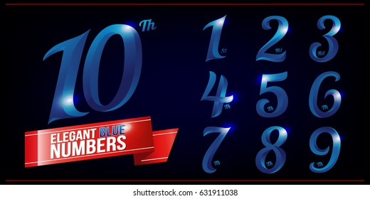 Set of Elegant Blue Colored  Metal Chrome numbers. 1, 2, 3, 4, 5, 6, 7, 8, 9, 10, logo design