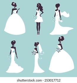 Set of elegant brides in silhouette. Vector illustration