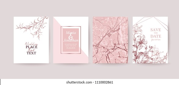 Set of elegant brochure, card, background, cover. Rose gold marble texture. Geometric frame. Hand drawn lily, flowers.