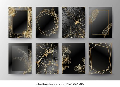 \t\nSet of elegant brochure, card, background, cover, wedding invitation. Black and golden marble texture. Geometric frame. Exotic palm gold leaves, flowers, lilies.