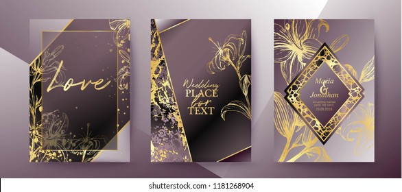 Set of elegant brochure, card, background, cover, wedding invitation. Lilac and golden marble texture. Geometric frame. Hand drawn fllowers, lilies. Floral arrangements.
