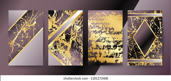 Set of elegant brochure, card, background, cover, wedding invitation. Lilac and golden marble texture. Geometric frame. Abstract gold foil backdrop.