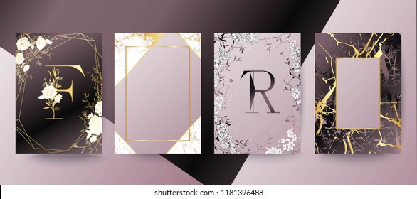 Set of elegant brochure, card, background, cover, wedding invitation. Lilac and golden marble texture. Geometric frame. Hand drawn fllowers. Floral arrangements.