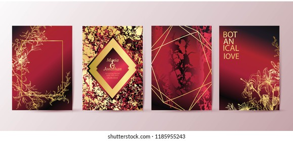 Set of elegant brochure, card, background, cover, wedding invitation. Red and golden marble texture. Geometric frame. Hand drawn flowers, lilies. Floral arrangements.