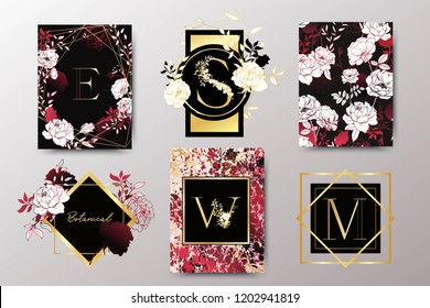 Set of elegant brochure, card, background, cover, wedding invitation. Black, red and golden marble texture. Geometric frame. Hand drawn flowers, roses. White floral arrangements.