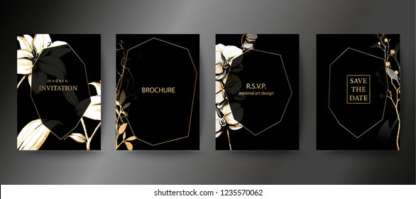 Set of elegant brochure, card, background, cover, wedding invitation. Black and golden marble texture. Geometric frame. Hand sketched botanicals. Orchid and lily flower.