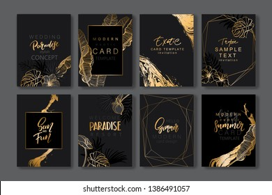 Set of elegant brochure, card, background, cover. Black and golden marble texture. Geometric frame. Palm, exotic leaves. Save the date, invitation, birthday card design.