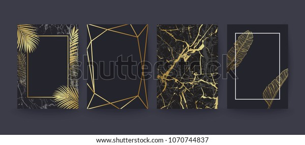 Set of elegant brochure, card, background, cover. Black and golden marble texture. Geometric frame. Palm, exotic leaves.